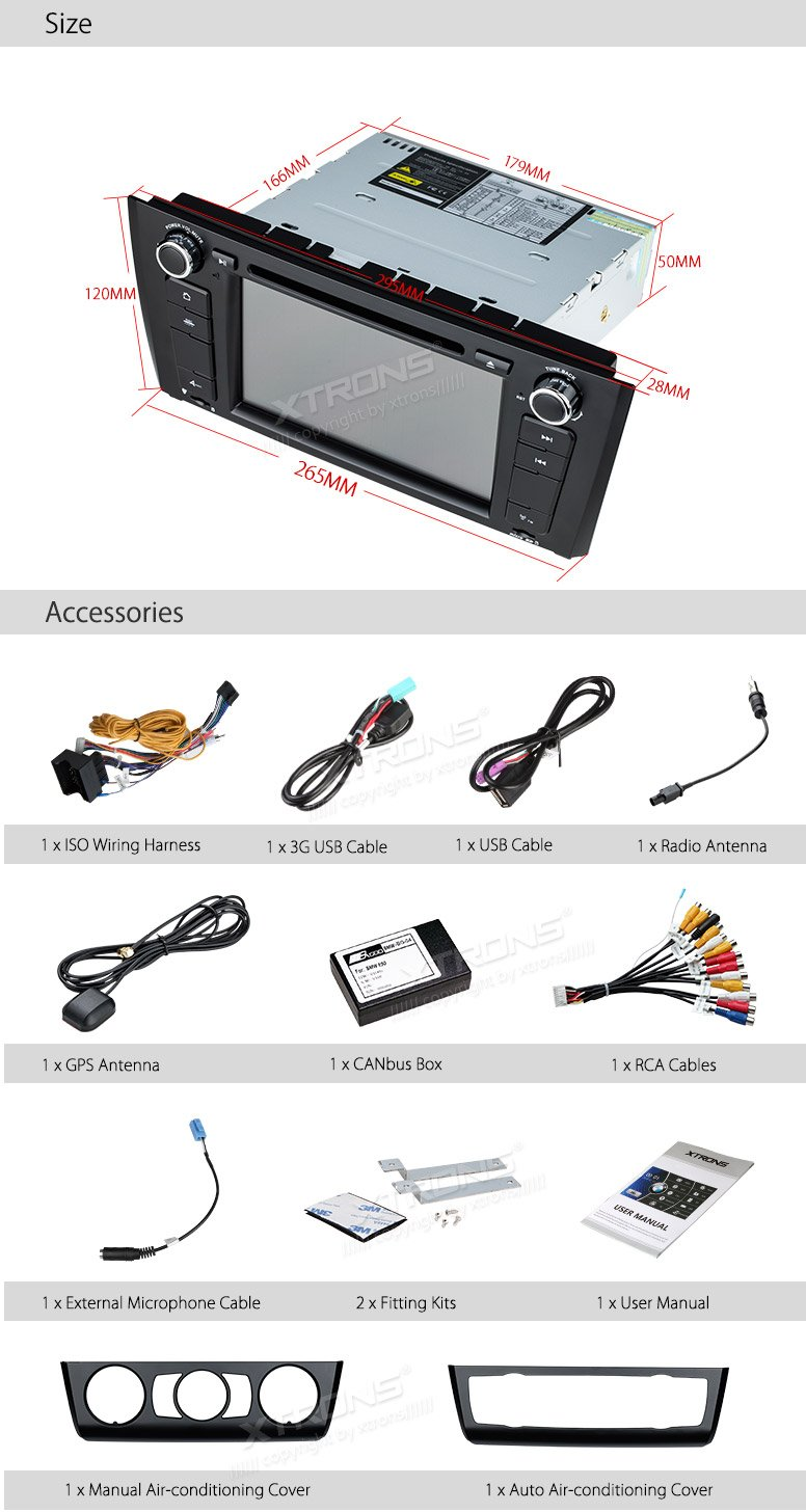 XTRONS 7 Inch HD Digital Touch Screen Car Stereo Radio In-Dash DVD Player with GPS CANbus for BMW 1 Series E81 E82 E88 2007-2014 Map Card Included
