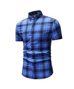 LIMITA Casual Kurzarm Herren Printed Slim Shirts Tops Bluse