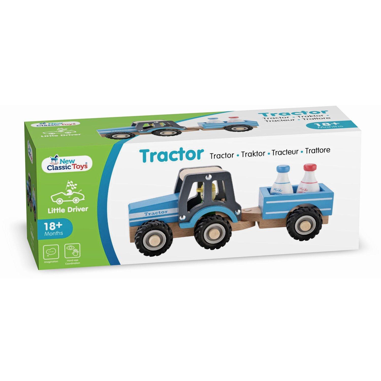 Bauernhof Holzspielzeug New Classic Toys 11942 Traktor mit Anhänger und Milchkannen
