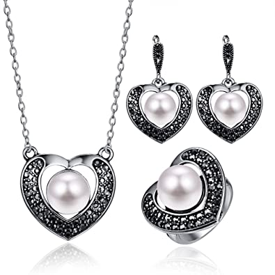 7f4557b96 Amazon.com: 14K Platinum Alloy Forever Lover Heart Pendant Necklace, Single Pearl  Necklace Earring Crystal Jewelry Set for Christmas Gift - Ring#7: Jewelry