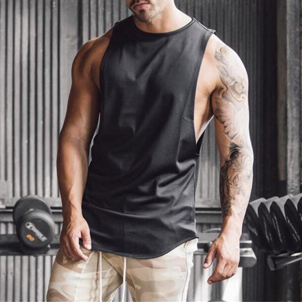 MODOQO Men's Tank Tops Fitness Sleeveless Cotton O-Neck T-Shirt Gym Vest(Black,M) by MODOQO (Image #4)