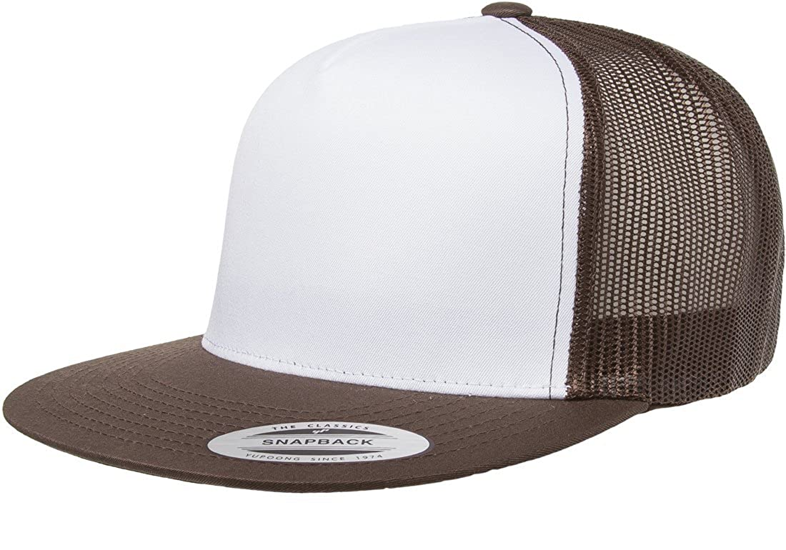 058d8896418f9 Yupoong Five-Panel Classic Trucker Cap - One Size - Brown White Brown at Amazon  Men s Clothing store