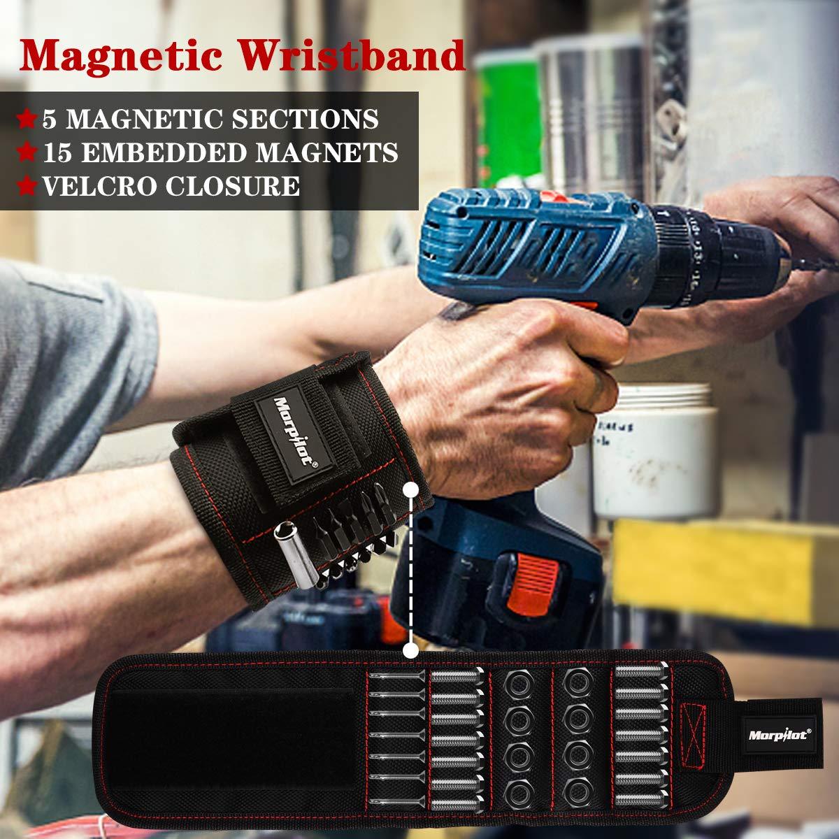 Morpilot Set di Telescopico Ispezione Regolabile di 360 Gradi, Pick-up Telescopico Magnetico e Polsino Magnetico con 15 Magneti Forti per Viti Regalo per Il Fai da Te Strumento Tuttofare