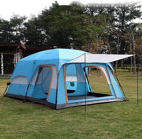 Camping tent Tienda de campaña Acolchada Impermeable para Playa, 2 Habitaciones, 1 salón, Mochila para Tienda de campaña al Aire Libre con cúpula automática para 8 Personas, Color Naranja y Azul café: