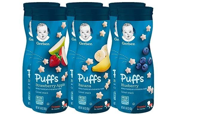 Gerber Graduados Puffs cereales Snacks Variedad Pack, 1,48 oz (Pack de 6