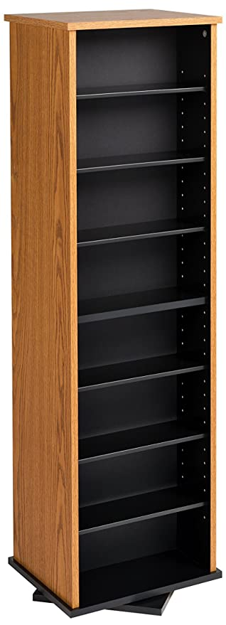 Superior Prepac Two Sided Spinning Tower Storage Cabinet, Oak And Black