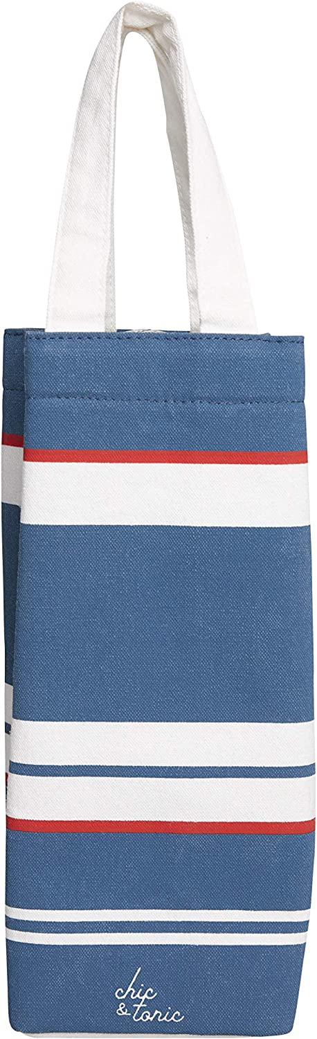Chic & Tonic Nautical Printed Canvas Wine Tote Bag with canvas handle. Picnic Wine Accessories. Great Gift