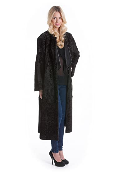 Luxus Fell Leder Persianer Mantel Pelz Wende Fashion Design BoxedC