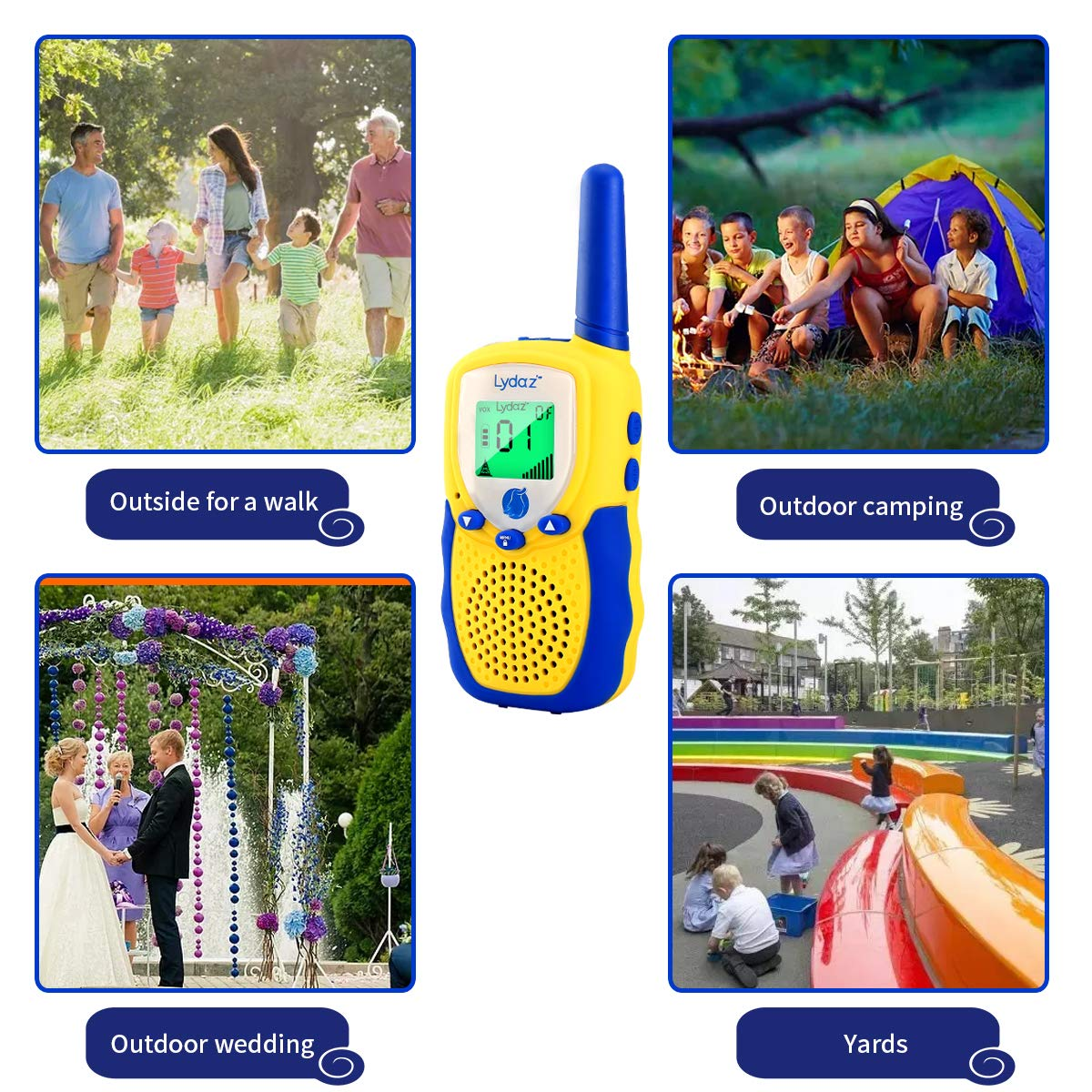 Lydaz Walkie Talkies for Kids, 22 Channels 3 Miles Long Range Electronic Two Way Radios with Rubber Finishing, Indoor Outdoor Play Adventure Toys Gift for Boys Girls Age 3 4 5 6 7 8 9 10 Years Old by Lydaz (Image #5)