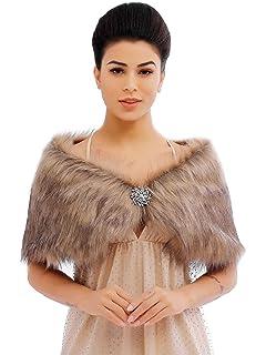 KOERIM Womens Faux Fur Shawl Bridal Wedding Shrug Wrap Evening Party Fur Stole