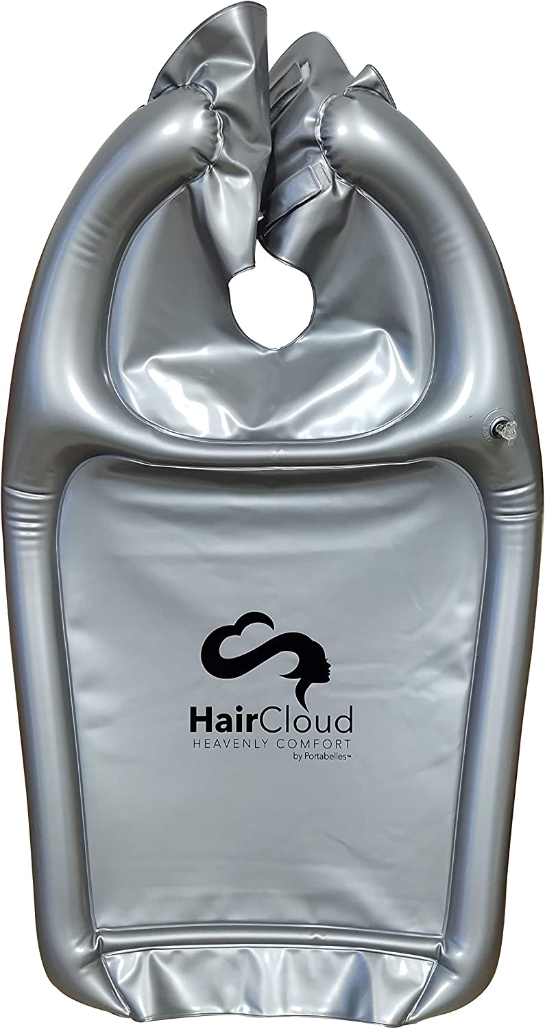 Inflatable Shampoo Funnel Cape for Washing Hair in Any Chair and Basin. Portable Device to Use in Salon, at Home, Nursing Home or Hospital to Keep Clothes Dry! Free Pump Included