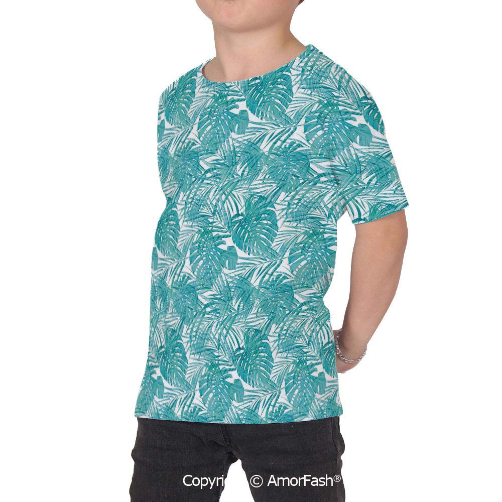 Light Blue Girls Short-Sleeve Midweight T-Shirt,Polyester,Neo Camouflage Tropica