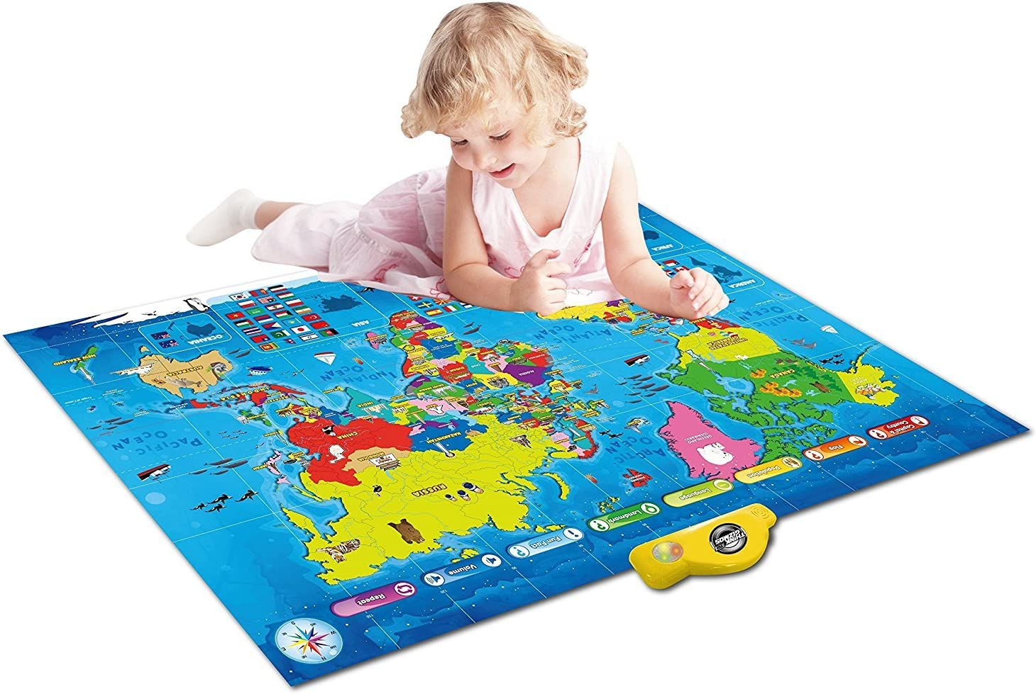 by ThinkGizmos Ideal Interactive Learning Toy Gift for Boys /& Girls Aged 5,6,7,8,9,10 Push Interactive Talking World Map for Kids TG661 Learn and Discover Over 1000 Facts About Our World