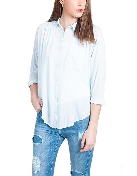 Shana Camisa Canesu Frunce, Blusa para Mujer, 206 Azul Cielo, XXS