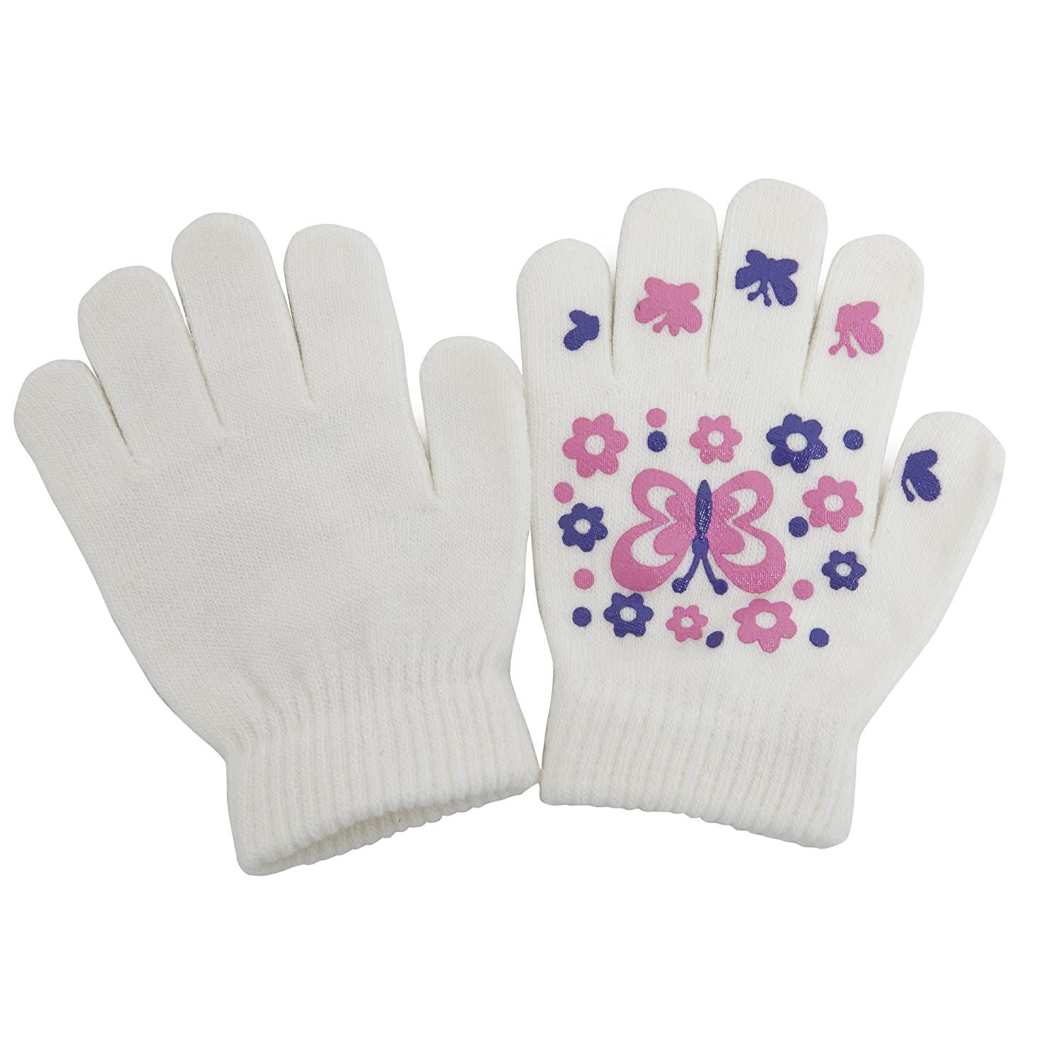 Girls Fun Winter Magic Gloves With Rubber Print (Up to 12 years) (Pink) Universal Textiles UTGL473_1