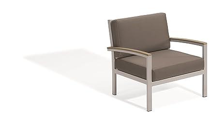 Oxford Garden Travira Club Chair   Powder Coated Aluminum Frame   Stone  Cushion   Vintage Tekwood