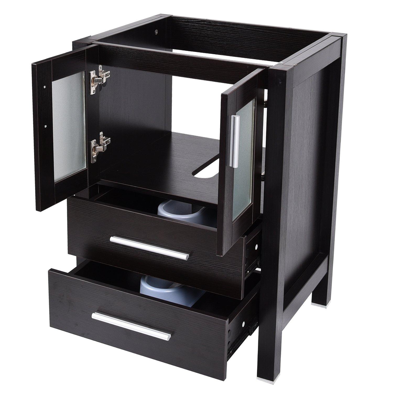 24-Inch Bathroom Vanity, Modern Stand Pedestal Cabinet, with Rectangle Ceramic Undermount Vessel Vanity Sink, Wood Black Fixture by PULUOMIS (Image #9)