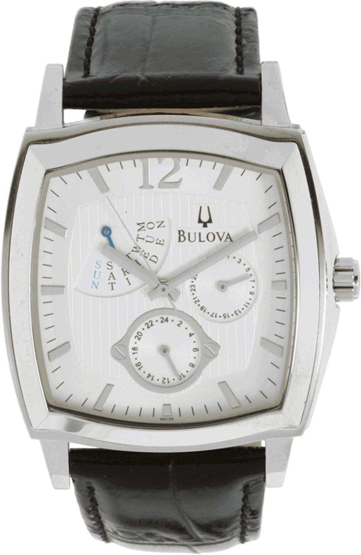 Bulova Men s 96C35 Multifunction Black Leather Strap Watch