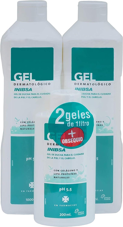 Geles Inibsa - Gel de ducha para el cuidado de la piel y el cabello, Ahorro Pack Dermatológico 2x1L + gel 200ml