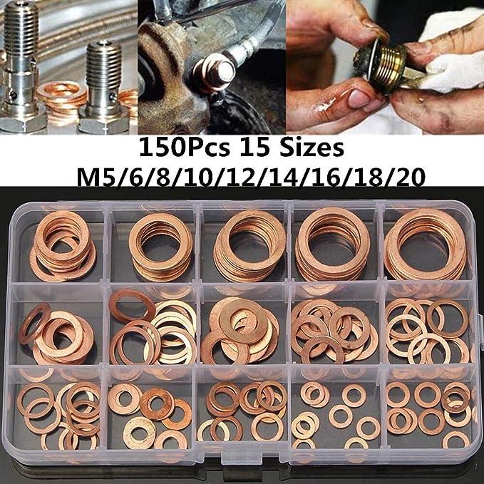 150x Copper Washer Set Drain Sump Plug Seal Flat Ring Fuel Hydraulic Fittings UK