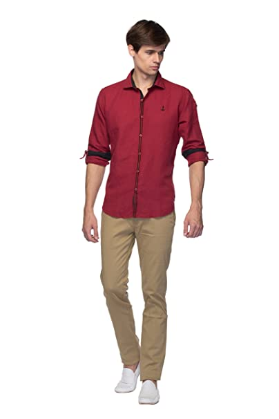 2e21257e02 Mens Shirt - Party Wear   Slim Fit Shirts - Maroon Color - By Zorro   Amazon.in  Clothing   Accessories