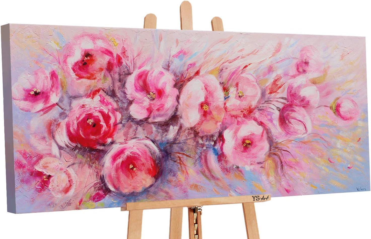 YS-Art | Cuadro Pintado a Mano Flores de Verano | Cuadro Moderno acrilico| 115x50 cm | Lienzo Pintado a Mano | Cuadros Dormitories | único | Rosado