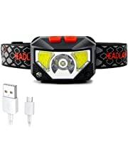 Bright Headlamps Front Head Light Rechargeable Waterproof with 6 Lighting Mode On-Off Sense Double Switches