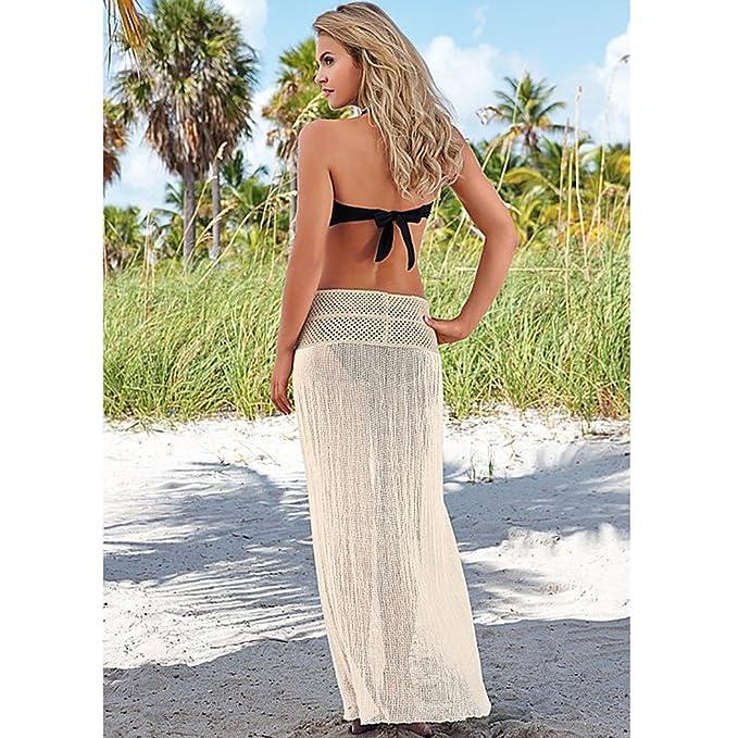 eee24870a Anna-Kaci Women's Sexy Crochet Split Front Swimsuit Bikini Cover Up, Beige,  Onesize at Amazon Women's Clothing store: