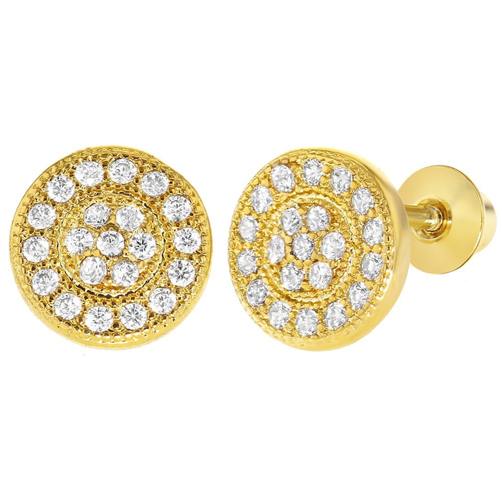 18k Gold Plated Micro Pave Clear Crystal Screw Back Round Girls Safety Earrings 03-1145