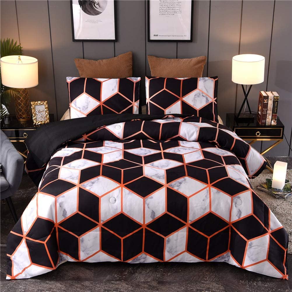 Marble Geometry Pattern Bedding Set, Artwork Abstract for Men Women Comforter Sets, Queen Size with 2 Pillow Cases