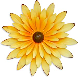 GIFTME 5 Metal Daisy Flower Wall Decor -Yellow 14 Inch