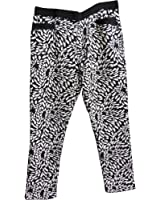 Women's Slim-Fit Black & White Leaf Design Textured Stretchy Pants Trousers Leggings