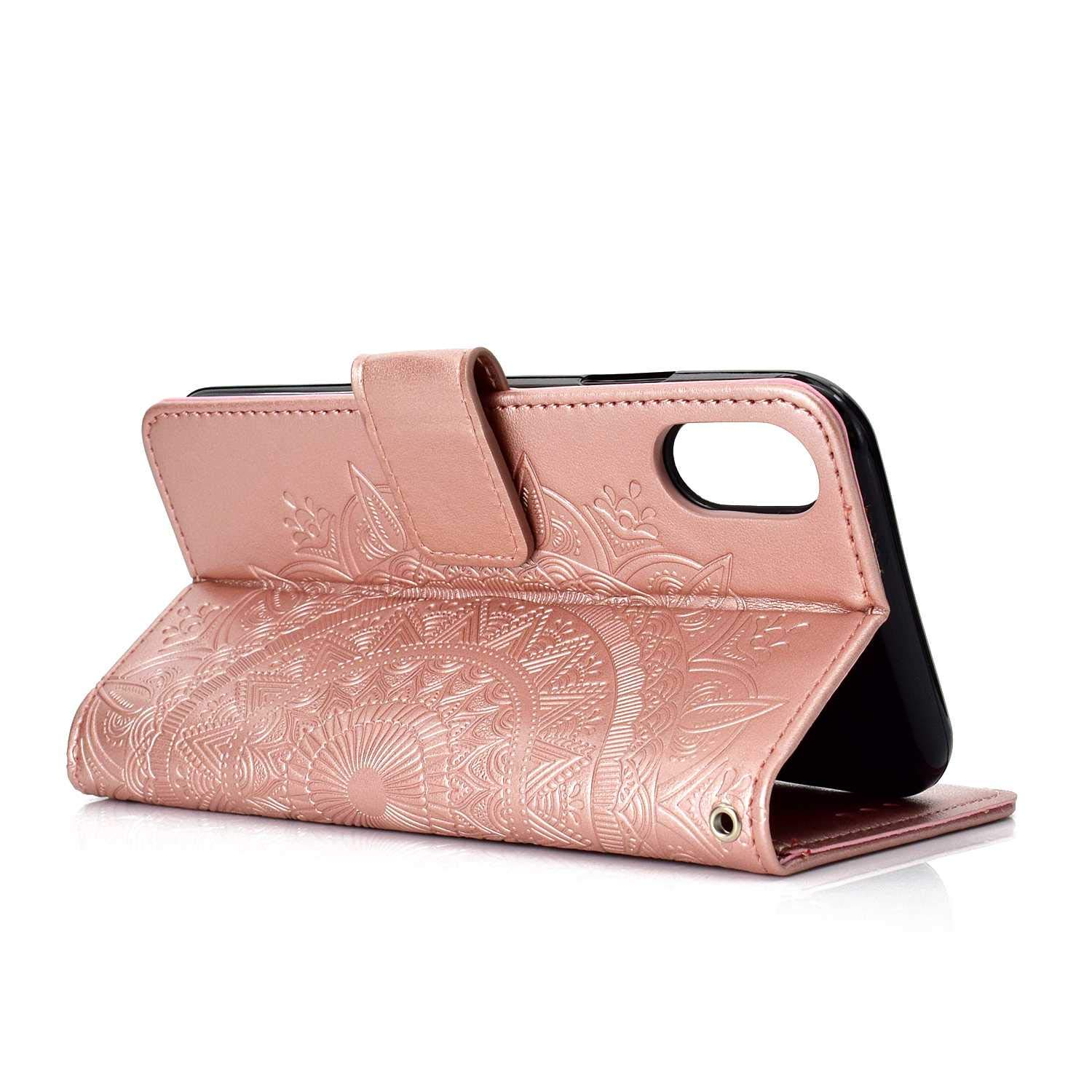 Case iPhone XR, Bear Village PU Leather Embossed Design Case with Card Holder and ID Slot, Wallet Flip Stand Cover for Apple iPhone XR (#1 Rose Gold) by Bear Village (Image #3)