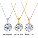 Round Moissanite and Diamond Necklace 2 1/6 CTW 14k Gold