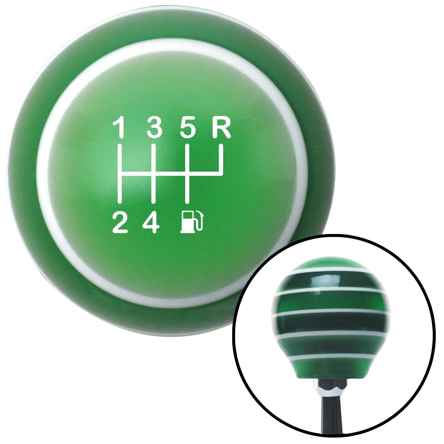 American Shifter 275640 Shift Knob White 6 Speed Shift Pattern - Gas 26 Green Stripe with M16 x 1.5 Insert