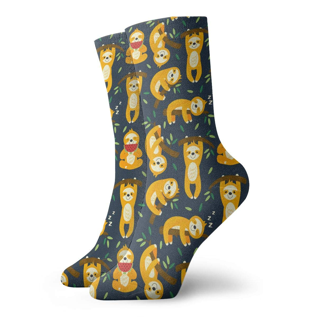 Unisex Funny Cute Sloth Yellow Athletic Quarter Ankle Print Breathable Hiking Running Socks