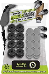GorillaGlides CB193 3/4 Inch Plastic Chair Glides/Furniture Feet Floor Protectors (Set of 16 Sliders) Self-Adhesive or Screw-On, Dual Surface, Round