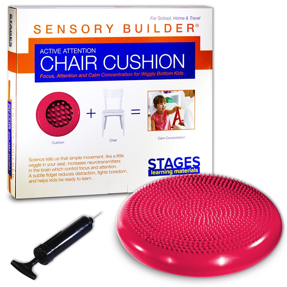 Stages Learning Constructeur sensorielle Active Chaise Attention Coussin pour Siège Wiggly Bas Kids, Red, 13' x 2,5