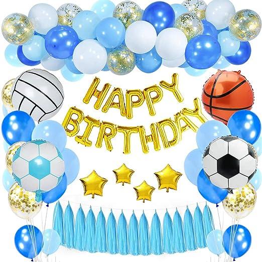 SPECOOL Decoraciones de cumpleaños Niños,Dorado Feliz cumpleaños Conjunto con Globo de esférica de Aluminio Globo Látex Confeti Azul Blanco Fiesta en ...