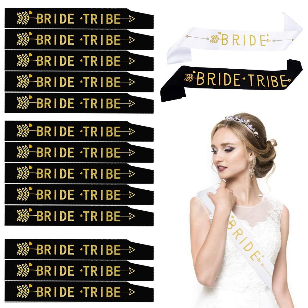 KINDPMA 15 Pcs Banda Novia Despedida de Soltera Bandas Team Bride Tribe Bandas Bride To Be Bandas de Despedida para Mujer Team Bride Despedida de Soltera Noches de Chica Negro Blanco 156 9,5CM