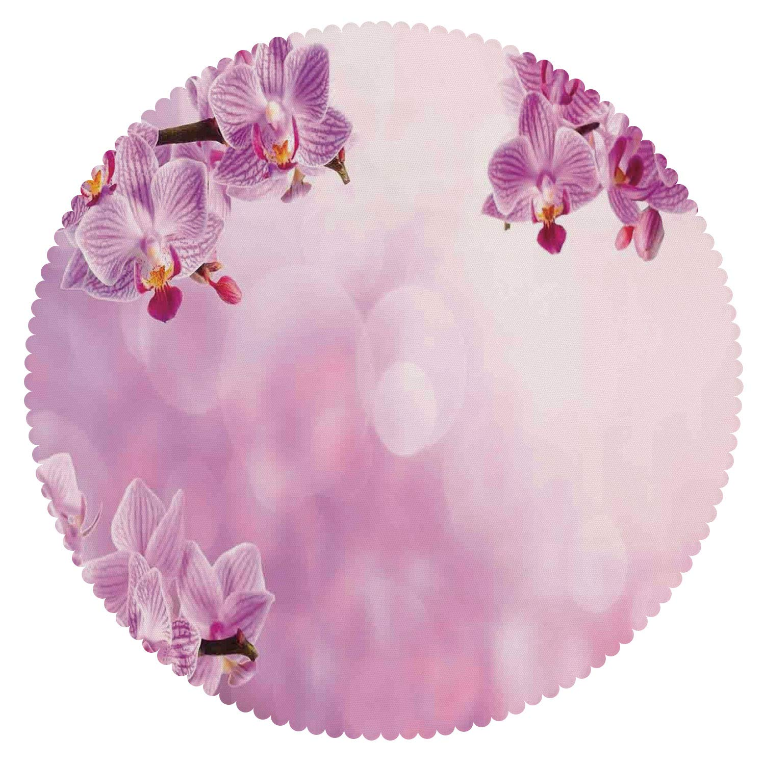 Durable Round Tablecloth [ Spa Decor,Wild Orchid Petals in Monochrome Design Bouquet Spring Bloom Seedling Growth Peaceful Nature Print,Pink ] Decorative Tablecloth Ideas