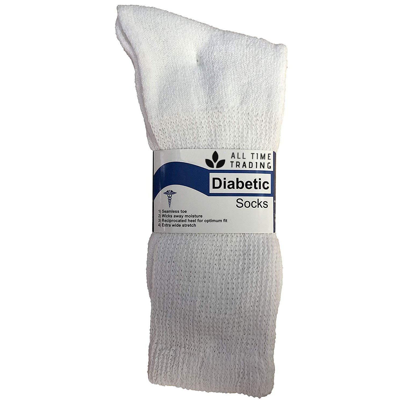 Physicians Approved Mens King Size Diabetics Cotton Crew Socks - Plus Size Wholesale Diabetic Crew Socks for Men - 13-16 - White - 120 Pack