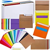 90 Sets 18 Colors A7 Invitation Envelopes Peel & Press 5x7 Greeting Cards Envelopes Self Seal and Blank 5x7 Cardstock Flat Ca