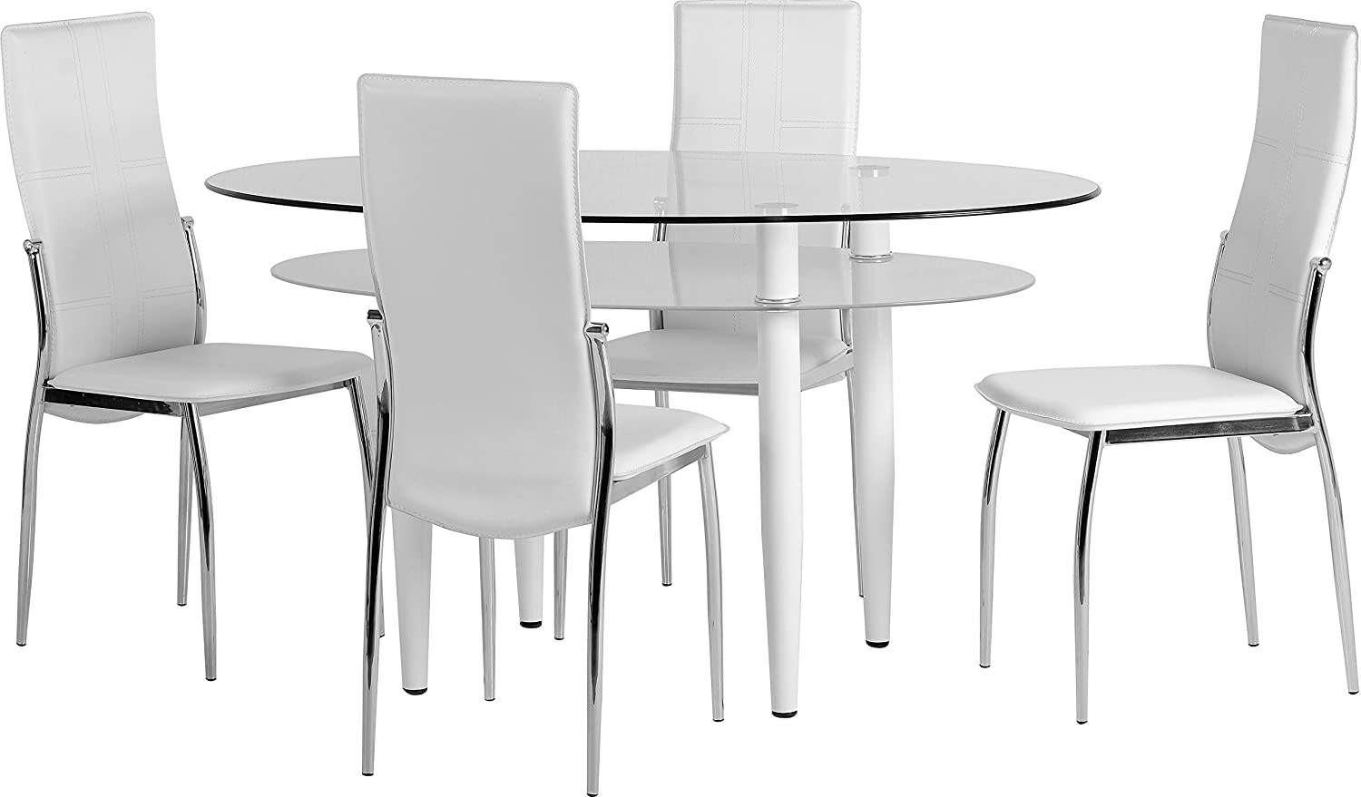 Seconique Berkley Dining Set, Clear Glass/Frosted Glass/White/White Faux Leather/Chrome, 829.95 x 1439.95 x 39.95 cm