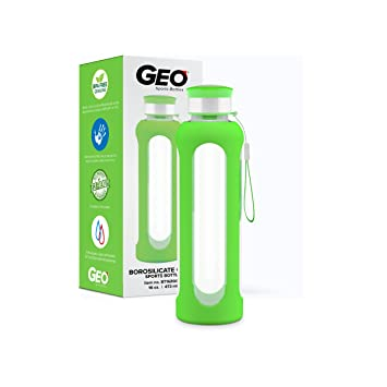 Amazon.com: Geo sin BPA botella de agua de vidrio, 16-ounce ...