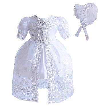 Cinda Baby-Mädchen 3 Stück weißes Spitze-Taufkleid-Partei-Kleid ...