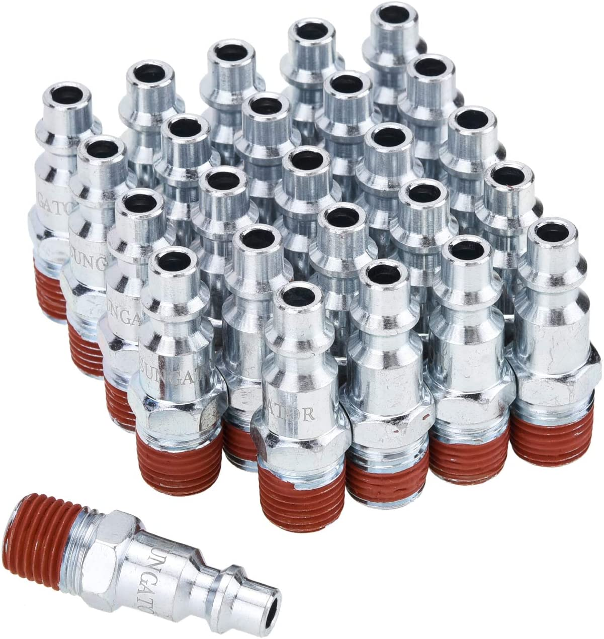 SUNGATOR 1/4-Inch NPT Male Industrial Air Plug, Pneumatic Plugs (25-Pack) - -
