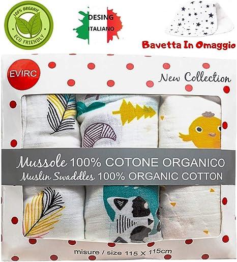 Muselina bebé 115 x 115 100% algodón orgánico toalla bebé de regalo 1 babero niños diseño italiano ideas regalo Navidad 2019 nueva colección sábanas para cochecito toallas pequeñas: Amazon.es: Bebé