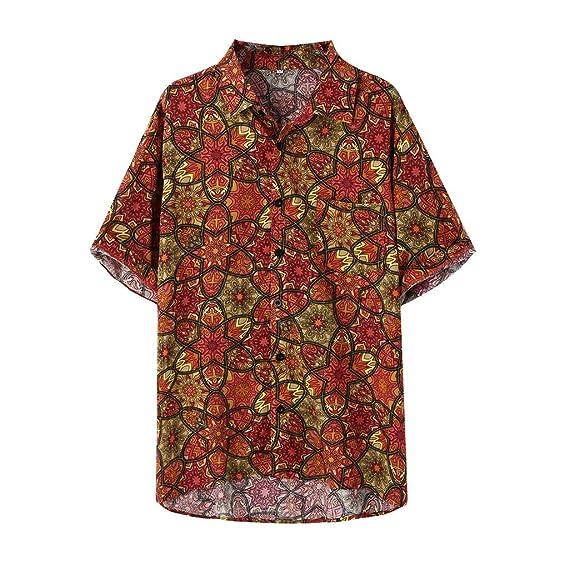 Berimaterry Camisas Hombre Manga Corta Camisa Hawaiana Hombre ...