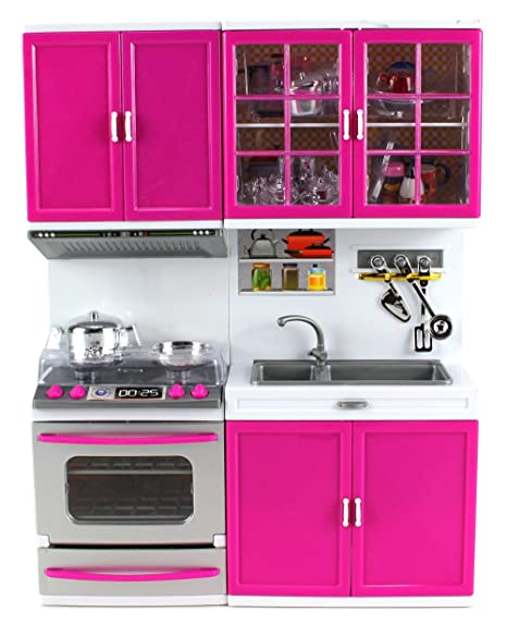 Mi cocina moderna estufa horno fregadero cocina funciona con pilas juguete muñeca de juguete w/